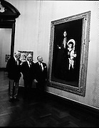 Armand Hammar Collection, Exhibition..1972..09.08.1972..08.09.1972..9th August 1972..Dr Armand Hammer arrived at the National Art Gallery in Dublin to open an exhibition of his art collection. The exhibition will be open to the public until October the 1st...Pictured viewing the portraits of Mrs Edward L Davis and her son Livingstone were (From left), Mr E A McGuire,Chairman of the Board,National Gallery, Dr James White,Director,National Gallery and Dr Armand Hammar..The painting is the work of world famous artist John Singer Sargent (1856 - 1925).