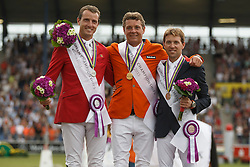 Individual podium, Dubbeldam Jeroen, Wathelet Gregory, Delestre SImon<br /> Individual Final Competition<br /> FEI European Championships - Aachen 2015<br /> © Hippo Foto - Dirk Caremans<br /> 23/08/15