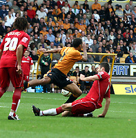 Photo: Mark Stephenson.<br /> Wolverhampton Wanderers v Norwich City. Coca Cola Championship. 22/09/2007.Norwich's Jason Shackell is sent off for this challenge