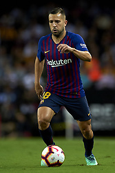 October 8, 2018 - Valencia, Valencia, Spain - Jordi Alba in action during the week 8 of La Liga match between Valencia CF and FC Barcelona at Mestalla Stadium in Valencia, Spain on October 7, 2018. (Credit Image: © Jose Breton/NurPhoto/ZUMA Press)