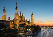 Pilar's Basilic in Zaragoza over Ebro River, Saragossa, Aragon, Spain
