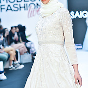 Saiqa Majeed showcases its latest collection at Modest Fashion Live at Olympia London on 14 April 2019, London, UK.
