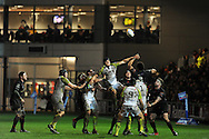 James King  of the Ospreys © jumps for a line out with Toby Faletau of the Dragons (8).Rabodirect Pro12 rugby match, Newport Gwent Dragons v Ospreys at Rodney Parade in Newport, South Wales on New Years Eve, Monday 31st Dec 2012. pic by Andrew Orchard, Andrew Orchard sports photography,
