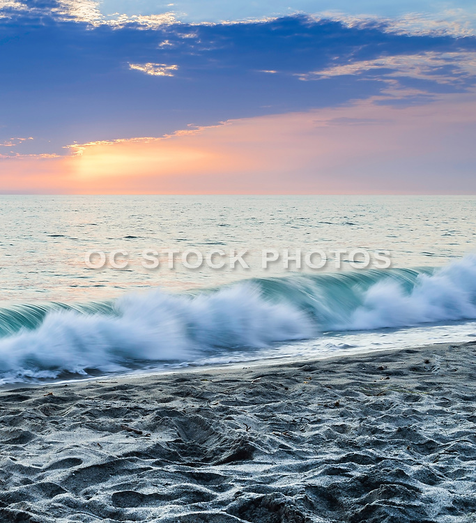 Sunset And Waves At Tamarac Beach In Carlsbad