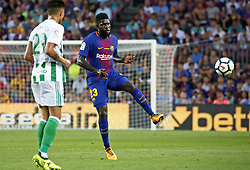 August 20, 2017 - Barcelona, Spain - Samuel Umtiti during La Liga match between F.C. Barcelona v Real Betis Balompie, in Barcelona, on August 20, 2017. hoto: Joan Valls/Urbanandsport/Nurphoto  (Credit Image: © Urbanandsport/NurPhoto via ZUMA Press)