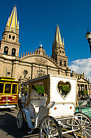 Calandria (horse drawn carriage), the Metropolitan Cathedral (Catedral Metropolitana), Plaza de Armas (square) in the historic Center of Guadalajara, Jalisco, Mexico