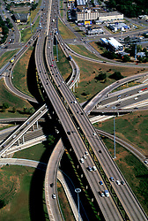Aerial view of a freeway interchange in Houston Texas
