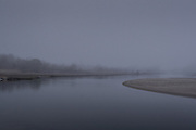 Looking up the Narrow River in the fog, Narragansett, Rhode Island.