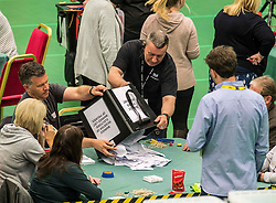 The first ballot boxes from polling stations in the Glenrothes constituency are counted at the Fife counting centre in Glenrothes.<br /> <br /> © Dave Johnston/ EEm