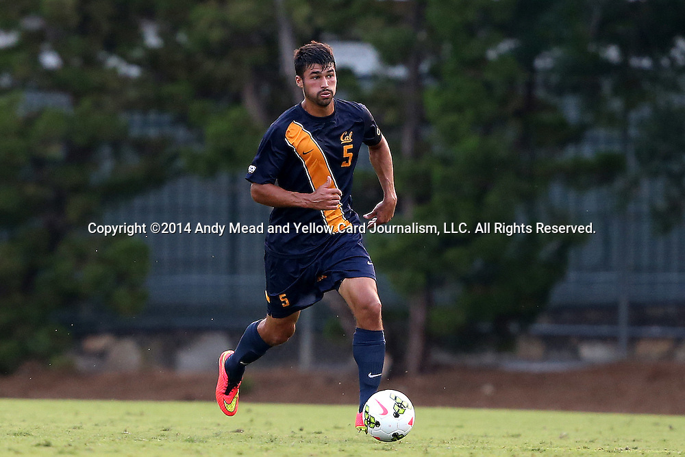 29 August 2014: Cal's Dylan Serrano. The University of North Carolina Tar Heels hosted the University of California Bears at Fetzer Field in Chapel Hill, NC in a 2014 NCAA Division I Men's Soccer match. North Carolina won the game 3-1.