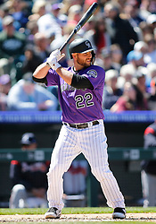 April 8, 2018 - Denver, CO, U.S. - DENVER, CO - APRIL 08: Colorado Rockies catcher Chris Iannetta (22) bats during a regular season MLB game between the Colorado Rockies and the visiting Atlanta Braves on April 8, 2018 at Coors Field in Denver, CO. (Photo by Russell Lansford/Icon Sportswire) (Credit Image: © Russell Lansford/Icon SMI via ZUMA Press)