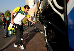 Goalkeeper of Slovenia Samir Handanovic at departure of Slovenia National team from Southern Sun Hyde Park Hotel to airport for flight home after the last 2010 FIFA World Cup South Africa Group C  match between Slovenia and England on June 25, 2010 at Southern Sun Hyde Park Hotel, Johannesburg, South Africa. (Photo by Vid Ponikvar / Sportida)