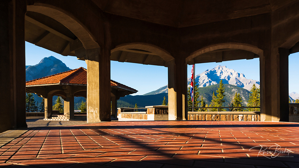 Viewing deck overlooking the Bow Valley, Cave and Basin National Historic Site, Banff National Park, Alberta, Canada