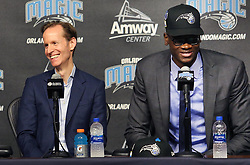 June 22, 2018 - Orlando, FL, USA - Orlando Magic president Jeff Weltman, left, laughs as center Mo Bamba speaks during a news conference at the Amway Center in Orlando, Fla., on Friday, June 22, 2018. (Credit Image: © Stephen M. Dowell/TNS via ZUMA Wire)