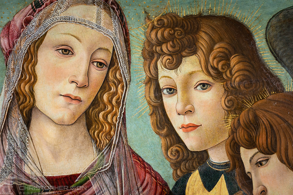 A detail of the painting 'Madonna of the Pomegranate' which has now been identified as being painted at the workshop of Sandro Botticelli sometime after 1487. The painting will hang at Ranger's House, Blackheath, London.<br /> Picture date: Monday March 25, 2019.<br /> Photograph by Christopher Ison for English Heritage ©<br /> 07544044177<br /> chris@christopherison.com<br /> www.christopherison.com