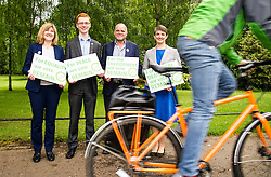 Pictured: Alison Johnstone, Ross Greer, Andy Wightman and Maggie Chapman<br /> <br /> The Scottish Green Party launched their statement on European Referendum today in Edinburgh. MSPs Ross Greer, Andy Wightman, Alison Johnstone were joined by co-convenor Maggie Chapman and activists as they the party's position on the referendum<br /> Ger Harley   EEm 13 June 2016