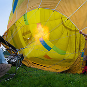Heating up aerostat (baloon) with hot air, Spain