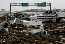 Stock photo of debris littering the streets after Hurricane Ike