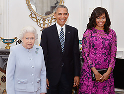Embargoed to 2100 Friday May 08 File photo dated 22/04/16 of Queen Elizabeth II (left) stands with the President and First Lady of the United States Barack Obama and his wife Michelle. The Queen was surrounded by historic personal mementos from the war years as she addressed the nation on the 75th anniversary of VE Day.
