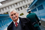 "Jiri Dienstbier - former dissident and Czechoslovakia's first foreign minister at the Joint Security Area (JSA). The Joint Security Area or Panmunjom, often called the ""Truce Village""  is the only portion of the Korean Demilitarized Zone (DMZ) where South and North Korean forces stand face-to-face. The area is used by the two Koreas for diplomatic engagements and, until March 1991, was also the site of military negotiations between North Korea and the United Nations Command (UNC). South Korea, Republic of Korea, KOR, 23rd of March 2010."