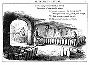Interior of sugar refinery. Metal cones are being filled with liquid syrup which will crystallise to form sugar loaves. Wood engraving, London  1860.