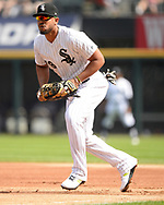 CHICAGO - AUGUST 13:  Jose Abreu #79 of the Chicago White Sox fields against the Houston Astros during the first game of a doubleheader on August 13, 2019 at Guaranteed Rate Field in Chicago, Illinois.  (Photo by Ron Vesely)  Subject:   Jose Abreu