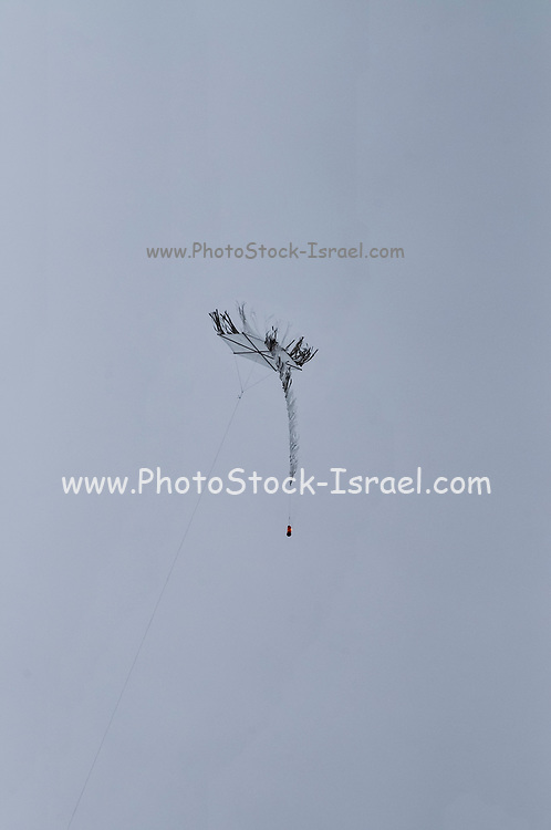 Kite bomb. Simple, homemade kites are flown over the Israeli border with a fire bomb attached. Causing fires in agricultural fields and nature reserves and burning crops on the Israeli side of the border. Photographed on May 05, 2018