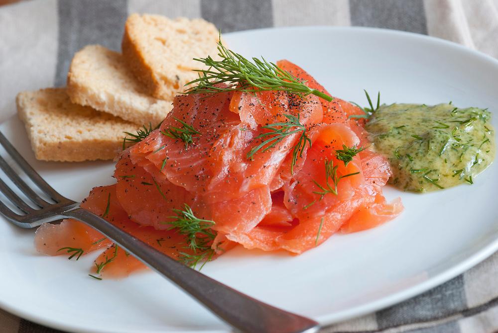 Traditional Scandinavian Gravlax on a plate