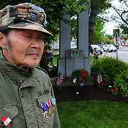 BRUNSWICK, Maine -- 5/30/16 -- A combat veteran of both World War II and Korea, this Brunswick man agreed to be photographed but chose to remain anonymous to honor the 34 men in his unit who were killed during the Korean War.  <br /> The Memorial Day Parade and ceremonies in Brunswick and Topsham went off as planned following a few light showers in the early morning. Many of the other regional parades were cancelled due to expected bad weather. Photo by Roger S. Duncan for The Forecaster