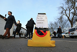 20 February 2017 - The FA Cup - (5th Round) - Sutton United v Arsenal - A traffic cone marking out a parking space for the Arsenal team bus - Photo: Marc Atkins / Offside.