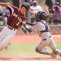 041313       Cable Hoover<br /> <br /> Miyamura Patriot catcher Victor Madrid (8) turns to tag Belen Eagle Andrew Castillo (2) out at home Saturday at Ford Canyon Park.