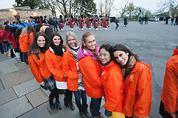 Miss Scotland Jennifer Reochs on left..The Miss World participants visit Edinburgh Castle and experience a rousing 'Beating Retreat' ceremony..MISS WORLD 2011 VISITS SCOTLAND..Pic © Michael Schofield.