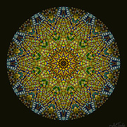 12 point star radiating with fabric textured bold west African colors and patterns