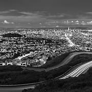 Twin Peaks Overlook - Dusk - San Francisco -  Black & White