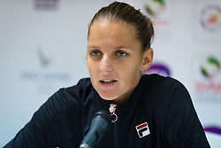 February 19, 2019 - Dubai, ARAB EMIRATES - Karolina Pliskova of the Czech Republic talks to the media after her second-round match at the 2019 Dubai Duty Free Tennis Championships WTA Premier 5 tennis tournament (Credit Image: © AFP7 via ZUMA Wire)