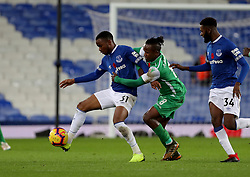 Everton's Ademola Lookman holds off Gor Mahia's Francis Kahata during the SportPesa Trophy match at Goodison Park, Liverpool.