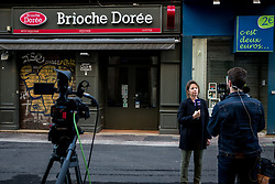 May 25, 2019 - Lyon, France - The mayor of Lyon, France, Gérard Collomb, gives a press conference in front of the store La Brioche Doré on May 25, 2019, where there was an explosion with a parcel bomb the day before that left more than a dozen people injured. Many shrapnel impacts are still visible on the windows around the explosion site. (Credit Image: © Nicolas Liponne/NurPhoto via ZUMA Press)