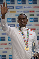 March 3, 2019 - Tokyo, Tokyo, Japan - Legese Birhanu of ETH holds up the winner's trophy during the awards ceremony following his victory in the Tokyo Marathon 2019 in Tokyo, Japan, March 3, 2019. Some 38,000 runners participated in the thirteenth edition of the Tokyo Marathon, one of the six World Marathon Majors. (Credit Image: © Alessandro Di Ciommo/NurPhoto via ZUMA Press)