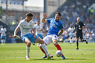 Goal Scorer Portsmouth Forward, Brett Pitman (8) wins the ball during the EFL Sky Bet League 1 match between Portsmouth and Coventry City at Fratton Park, Portsmouth, England on 22 April 2019.