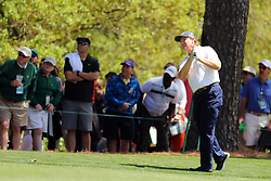Ernie Els hits a shot on the 1st fairway during the third round of the Masters Tournament at Augusta National Golf Club in Augusta, Ga., on Saturday, April 8, 2017. (Photo by Curtis Compton/Atlanta Journal-Constitution/TNS) *** Please Use Credit from Credit Field ***