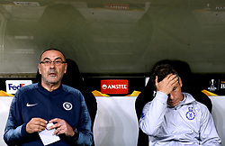 Chelsea manager Maurizio Sarri (left) during the UEFA Europa League Semi final, first leg match at The Frankfurt Stadion, Frankfurt.