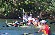 "Rio de Janeiro. BRAZIL. GER W4X. <br /> Annekatrin THIELE, climbs back into the boat after celebrating with crewmates, Carina BAER,  Julia LIER and Lisa SCHMIDLA, 2016 Olympic Rowing Regatta. Lagoa Stadium,<br /> Copacabana,  ""Olympic Summer Games""<br /> Rodrigo de Freitas Lagoon, Lagoa. Thursday  11/08/2016<br /> [Mandatory Credit; Peter SPURRIER/Intersport Images]"
