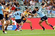 Andy Muirhead gets past James Ramm and Jack Maddocks to score a try. NSW Waratahs v ACT Brumbies. 2021 Super Rugby AU Round 7 Match. Played at Sydney Cricket Ground on Friday 2 April 2021. Photo Clay Cross / photosport.nz