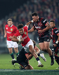 British and Irish Lions' Anthony Watson is tackled by Crusaders' Joe Moody during the tour match at the AMI Stadium, Christchurch.