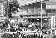 Great Exhibition, Crystal Palace, London. Queen Victoria opening exhibition 1 May 1851. Engraving.