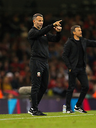 October 11, 2018 - Cardiff City, Walles, United Kingdom - Cardiff, Wales October 11, ..Ryan Giggs manager of Wales gesturesduring Exhibition Match between Wales and Spain at Principality stadium, Cardiff City, on 11 Oct  2018. (Credit Image: © Action Foto Sport/NurPhoto via ZUMA Press)
