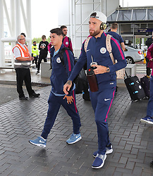 Nicolas Otamendi as the Manchester City team arrive at Manchester Airport as they jet for Iceland