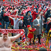 The Netherlands, Enschede, 03-05-2010.<br /> Football, National, Competition, Eredivisie.<br /> FC Twente the football team from Enschede became national champion of the Netherlands.<br /> The celebrations on the square in front of the stadium of FC Twente.<br /> Photo: Klaas Jan van der Weij