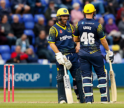Glamorgan's David Lloyd with team-mate Chris Cooke<br /> <br /> Photographer Simon King/Replay Images<br /> <br /> Vitality Blast T20 - Round 14 - Glamorgan v Surrey - Friday 17th August 2018 - Sophia Gardens - Cardiff<br /> <br /> World Copyright © Replay Images . All rights reserved. info@replayimages.co.uk - http://replayimages.co.uk