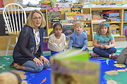 Lower School science teacher Vicky Ware at the Tower Hill School, with her class in Wilmington, De. Photograph by Jim Graham